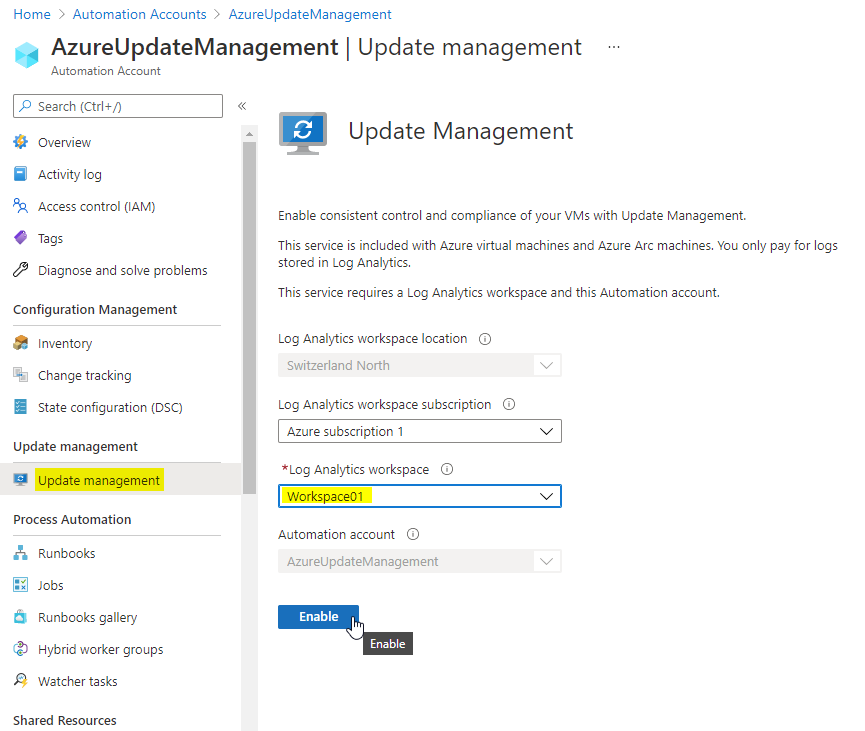 update-management-enable